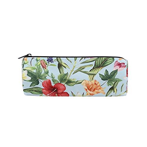 JNlover - Estuche para lápices con diseño de hojas de palma tropicales y flores, para adolescentes, niños, oficina
