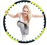 Hula Hoop Fitness Hula Hoops para adultos y mujeres y hombres con doble fila, imán de masaje, bola de piel para perder peso, 8 nudos desmontan Hula-Hoop (color negro, amarillo, tamaño: 110 cm)