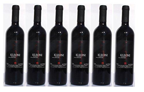 6x Kleoni Rotwein trocken Lafkiotis je 750ml + 2 Probier Sachets Olivenöl aus Kreta a 10 ml - griechischer roter Wein Rotwein Griechenland Wein Set