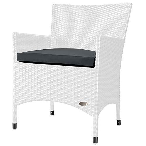 RS Trade 'Trento' Polyrattan Gartenstuhl handgeflochten mit verstärktem Alu-Rahmen, bis zu 200 kg belastbar, Rattan Stuhl mit Alu Füßen und extra Bodenschutzkappen, inkl. 5 cm Sitzkissen, Weiß