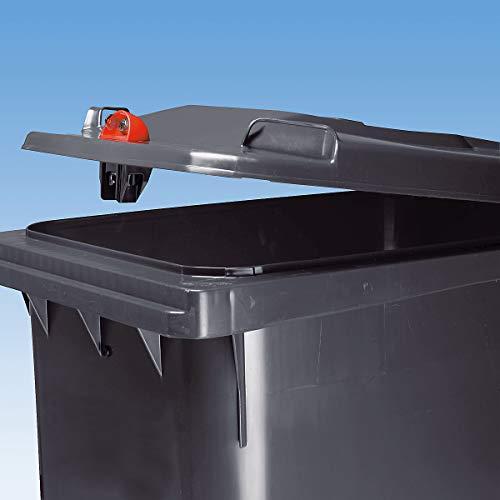 SSI Schäfer Großmülltonne aus Kunststoff mit Schwerkraftschloss - Volumen 120 l, HxBxT 933 x 482 x 552 mm - rot - Abfallbehälter Abfallbehälter für außen Abfallsammler Abfalltonne Abfalltonnen Großmüllbehälter Großmüllbehälter aus Kunststoff Müllbehälter