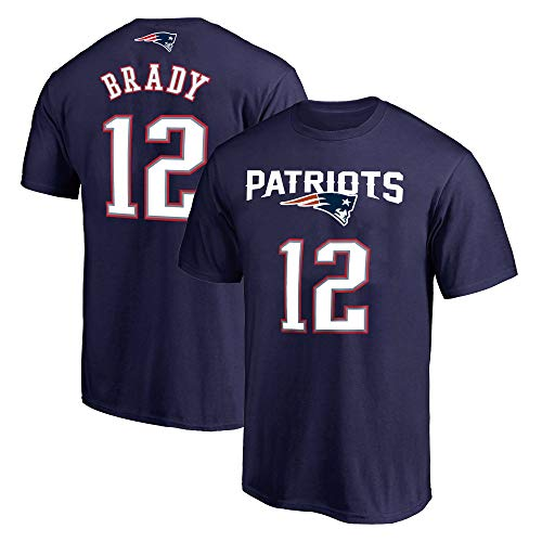 NFL Youth 8-20 Team Color Polyester Performance Mainliner Player Name and Number Jersey T-Shirt (Large 14/16, Tom Brady New England Patriots Navy)