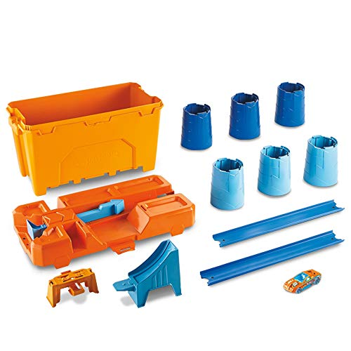 Hot Wheels- Track Builder Scatola Stunt, Playset con Birilli e Lanciatore per Macchinine, Gioco per Bambini di 6+ Anni, GCF91