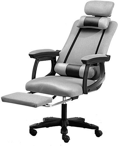 VIVOCC Bürostuhl Schwenkschreibtischstuhl High-Back-Mesh-Bürostuhl, ergonomischer Drehstuhl mit Verstellbarer Rückenlehne mit Fußstütze Kopfstütze weiche Kissen und Stoff, grau