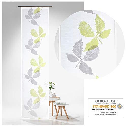 heimtexland ® Schiebegardine Batist Pure Nature Blätter 245x60 Flächenvorhang Schiebevorhang Transparent Weiß Grün Typ638