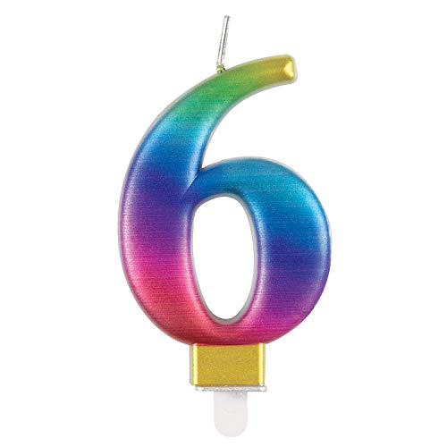 Unique 19636 Birthday Candle Number 6-3.54' | Rainbow | Metallic | 1 Pc