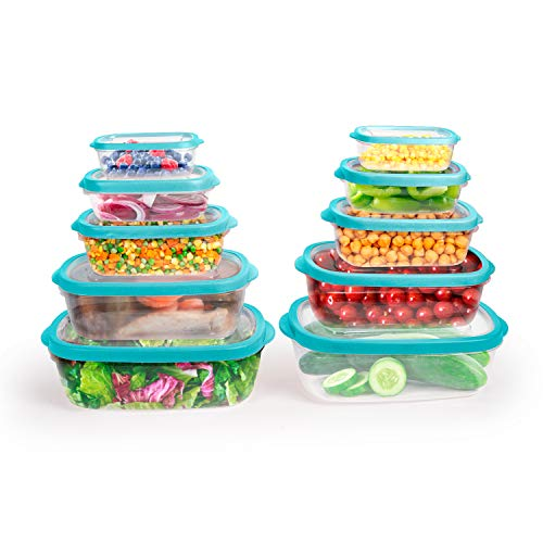 Totally Kitchen Rectangle Food Containers | Microwave Safe & BPA Free | Thick, Durable & Leak Resistant | Teal, Set of 10 (20 Pieces Total)