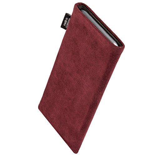 fitBAG Classic Weinrot Handytasche Tasche aus original Alcantara mit Microfaserinnenfutter für Huawei Ascend D Quad/D Q   Hülle mit Reinigungsfunktion   Made in Germany - 2
