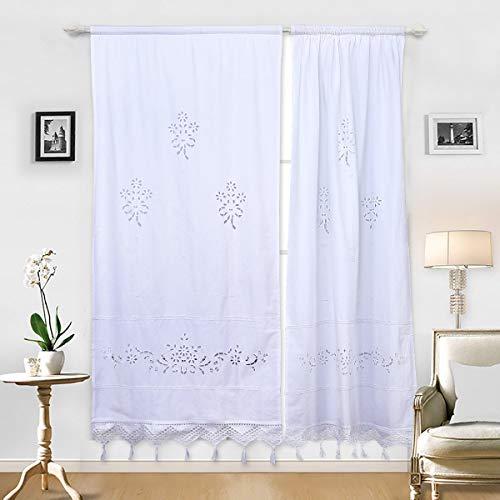 DOKOT Leinen Baumwolle Stickerei Küche Vorhang, Cafe Vorhang, Esszimmer Vorhang mit Crochet Tassel Border (Weiß 70x150cm 1 Panel)