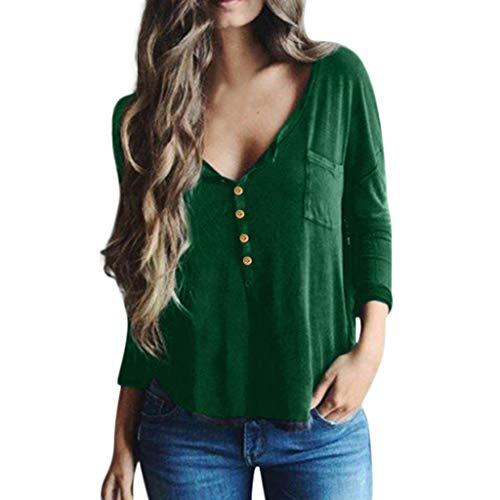 BUKINIE Liquidation T-Shirt Femme Chemises à Manches Longues pour Femme Automne Casual Boutons à col en V Décontracté Boutons Amples Tunique Tops Blouses (Vert,XX-Large