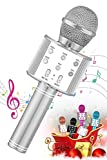 SEATANK Bluetooth Karaoke Wireless Microphone for Kids Toys, Wireless Portable Karaoke Machine, Handheld Mic Speaker Christmas Birthday Party for Kids Gifts Android/iPhone Compatible (858 Silver)