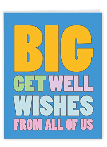 NobleWorks - Big Funny Group Get Well Card (8.5 x 11 Inch) - Jumbo Feel Better Soon from All of Us, Hospital, Sick - Big Get Well Wishes J2721GWG-US