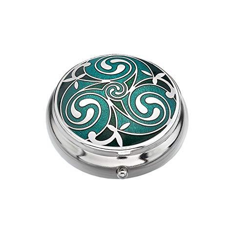 Sea Gems Pastillero Chapado en Plata Celta Trisquel Redondos Verde Caja