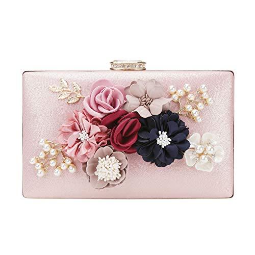 chuangminghangqi Damen Clutch Abendtasche Hochzeit - Handtasche mit Blumen Hochzeit Braut Geldbörse 20 * 12 * 3 cm (20 * 12 * 3 cm, Pink)