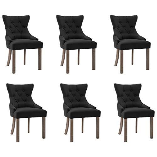 vidaXL 6X Esszimmerstuhl Küchenstuhl Polsterstuhl Stuhl Set Stühle Wohnzimmerstuhl Essstuhl Lehnstuhl Besucherstuhl Esszimmerstühle Schwarz Stoff