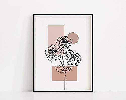 Lmina de flores de lnea | Ramo de dibujo de lneas | Impresin de pared de plantas | Flor de lnea negra | Pster de pared de flores | Cuadro decorativo familiar sin marco Z13 70x100cm