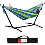 PNAEUT 2-Person Hammock with Space Saving Steel Stand Garden Yard Outdoor 450lb Capacity Double Hammocks and Portable Carrying Bag (Blue)