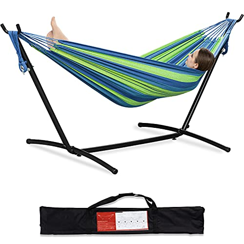 PNAEUT 2-Person Hammock with Space Saving Steel Stand Garden Yard Outdoor 450lb Capacity Double...