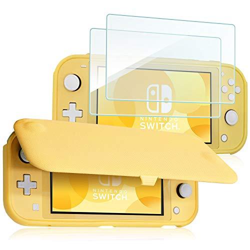 ProCase Klapp Schutzhülle + (2 Stück) Panzerglas für Nintendo Switch Lite 2019, Weich dünn TPU Stoßfest Hülle + 2 Hartglas Blasenfrei Displayschutzfolien aus gehärtetem Glas –Gelb