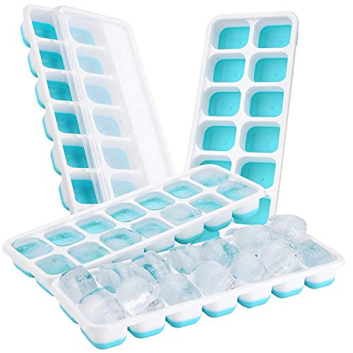 iFancy Eiswürfelform Hot Summer mit Deckel - 2er Pack - Platzsparend Stapelbar - TPE + PP Eiswürfel Ice Cube Tray Eiswürfelbehälter (Blau)