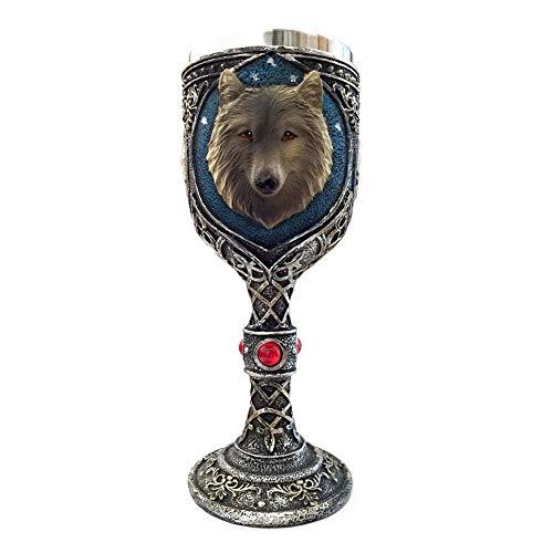 NiceButy Copa del Lobo 3D época la Cabeza cáliz Totem Relieve Vino Artificial Rubí Decorado Acero Inoxidable Taza de la Bebida - 1PC