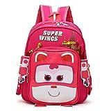 Boy's Cartoon Super Wings Backpack Student's Waterproof Schoolbag (Pink)