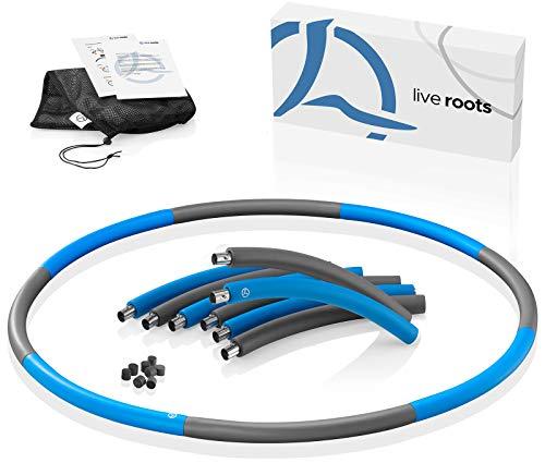 LIVE ROOTS Hula Hoop Reifen Erwachsene - Stabiler Edelstahlkern - Premium Schaumstoff - Inkl. Tragetasche - perfekt für Anfänger geeignet (blau/grau)