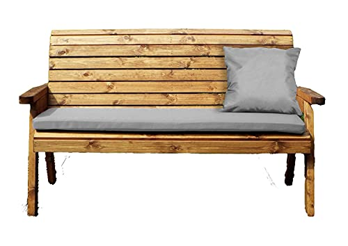 UK-Gardens Outdoor Patio Three Seater Wood Bench with Grey Cushions