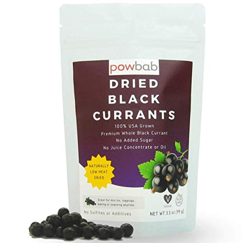 powbab Dried Black Currants - 100% USA Grown Currants Dried Fruit. No Added Sugar, No Oil, No Juice Concentrate. Unsweetened Dried Currants for Baking. Not Zante Currants. Unsulfured (3.5 oz)