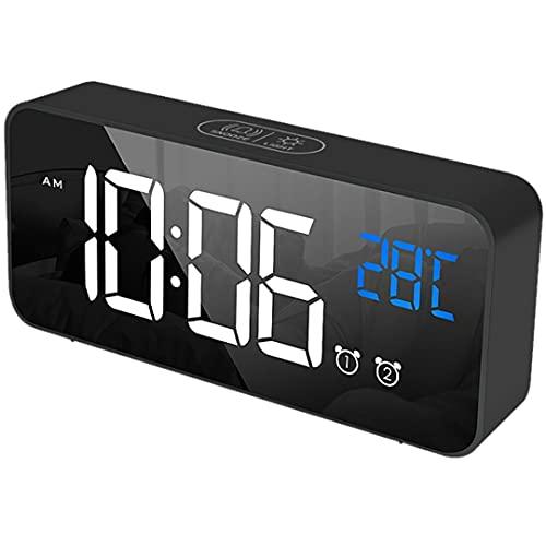 NK Reloj Despertador Digital con Pantalla LED - Alarma Dual, Indicación de Temperatura, 12/24 Horas, Brillo Regulable, Tiempo de repetición, Puerto Carga USB, Batería Integrada
