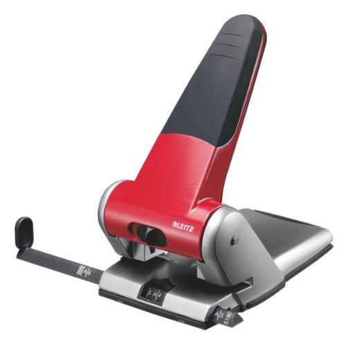 Leitz 5180-01-25 - Perforador para 2 agujeros (capacidad para 65 hojas de 80 g), color rojo y gris
