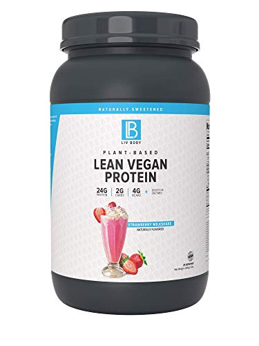 LIV Body | Plant-Based Lean Vegan Protein | 24g Protein & 4g BCAAs per Serving | Probiotic + Digestive Enzymes | Great Tasting Flavors (Strawberry Milkshake)