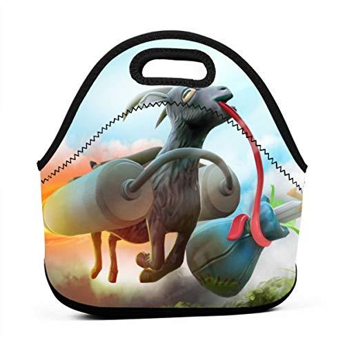 Neopren-Lunchtasche, Ziegen-Simulator, bedruckt, isoliert, für Schule, Picknick, Thermo-Tragen, Gourmet-Lebensmittelbehälter, für Kinder, Mädchen, Jungen und Frauen