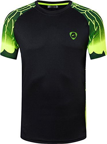 jeansian Hombres Deportes Wicking Quick Dry Respirable Corriente Training tee T-Shirt Sport Tops LSL229 Black S