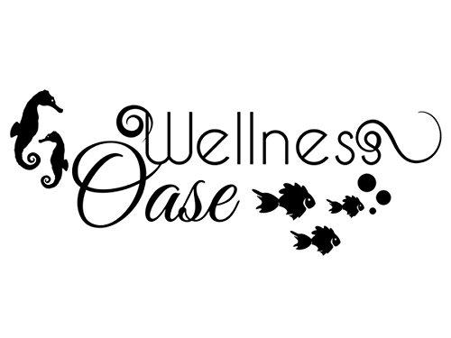 Wandtattoo-bilder® Wandtattoo Wellness Oase Badezimmer Bad Dekoration Fische Seepferdchen Chillen Entspannen Farbe Brillantblau, Größe 120x46