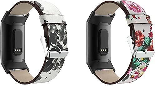 Chainfo Cinturino per Orologio compatibile con Fitbit Charge 4 / Charge 4 SE/Charge 3 SE/Charge 3, Pelle per Donna Uomo (Pattern 1+Pattern 2)