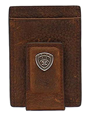 Ariat Mens Card Case Money Clip Leather Rowdy Brown Wallet A35123282