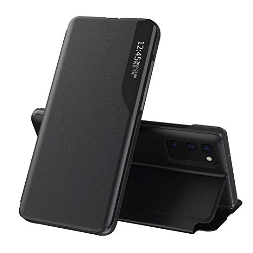 FTRONGRT Cover for Xiaomi Poco F3 Case, Magnetic Clamshell, Leather PC,Transparent Window Window, with Bracket, Suitable for Xiaomi Poco F3 Protective case.Black