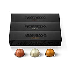 NESPRESSO VERTUOLINE VARIETY PACK ASSORTMENT: This Nespresso coffee assortment offers 30 Nespresso Pods in a variety of 3 best-selling coffee blends for the Nespresso VertuoLine System.10 Hazelino, 10 Caramelizio, 10 Vanizio COFFEE BREWS 7.8 OZ: Thes...