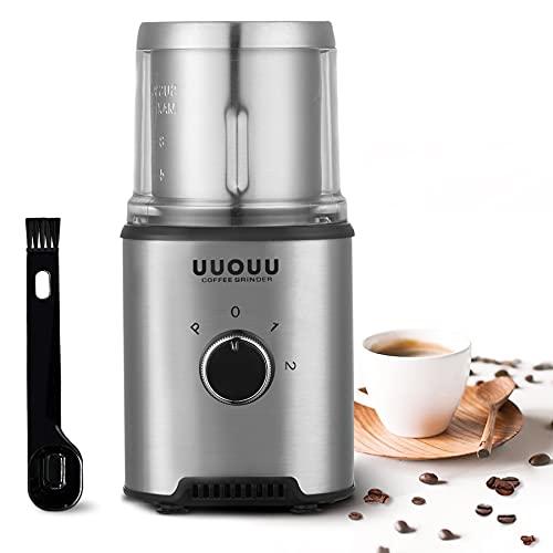 Elektrische Kaffeemühle UUOUU Gewürzmühle 350W mit großer Kapazität 100g Abnehmbare Edelstahlbehälter, Klarer Deckel Multifunktional - Silber(CG-9535A) 3 Jahre Garantie