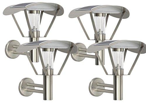 RANEX 4-delige set Solar wandlampen, LED buitenwandlamp roestvrij staal, schemeringssensor; 5000.499