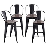 Alunaune 26' Swivel Metal Bar Stools Set of 4 High Back Counter Height Barstools Industrial Dining Bar Chairs with Large Wooden Seat-Matte Black