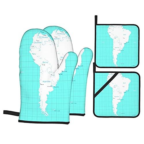 Juego de 4 Guantes de Horno y agarraderas,Colombia Mapa Isométrico América del Sur Paraguay Quito,Utilizado para cocinar,Hornear y Asar a la Parrilla