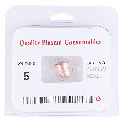 5 Stück Plasmaschneider Düsen Zubehör60A 220329 für MAX1250 Schneidemaschine, Brennerspitzen Verbrauchsmaterial für Stahl-, Aluminium-, Kupferschneiden