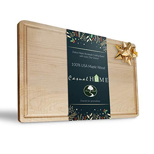 Casual Home Delice Maple Rectangle Juice Drip Groove Cutting Board, Rectangular 17x11,
