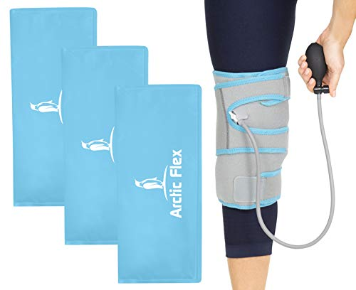Vive Compression Knee Ice Wrap - Reusable Brace with Air Pump - Hot/Cold Therapy for Men, Women, Pain Relief, Swelling and Recovery Support - Adjustable and Inflatable Pack for Sports Injury Sprains