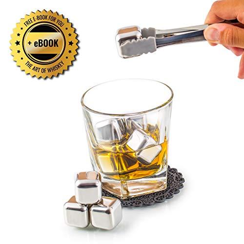 Exklusives Edelstahl Whisky Steine Geschenkset – Hohe Kühltechnologie - 8 Whisky Eiswürfel Wiederverwendbar - Edelstahl Eiswürfel - Besondere Geschenke für Männer - Edelstahl Kühlstein von Amerigo - 6
