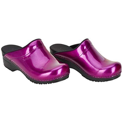 Sanita | Patent Offener Clog | Original handgemacht | Flexibler Clog für Damen | Violett | 42 EU