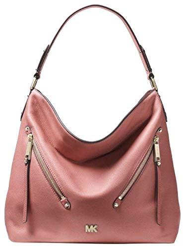 "Single handle - Top zipper closure -MK logo detail Exterior features 2 front zipper pockets Interior features zip pockets, 6 slip pockets 12.75"" H x 14.5"" W x 5"" D , 9"" handle drop Leather exterior, polyester lining"