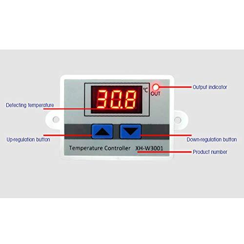 Demeras Interruptor de termostato de Pantalla Digital antiinterferencias 24V para Ajuste de Temperatura(110-220V / 1500W)